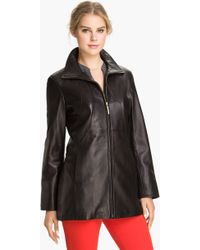 Ellen Tracy Stand Collar Leather Topper - Lyst