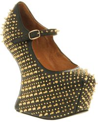 Jeffrey Campbell Prickly Black Leather Platforms with Gold Spike - Lyst