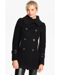 Mackage Leather Trim Peacoat - Lyst