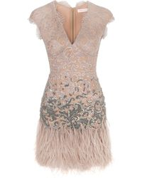 Matthew Williamson Winter Garden Couture Lace Fitted Dress beige - Lyst