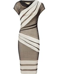 Reiss Stripe Lace Dress - Lyst