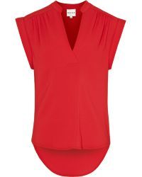 Reiss Dipped Hem Roll Sleeve Top - Lyst