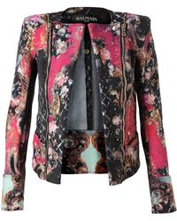 Balmain Floral Printed Denim Jacket - Lyst