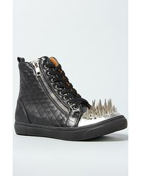 Jeffrey Campbell The Adams Sneaker in Black Quilt and Silver Spikes - Lyst