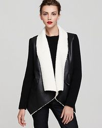 Sam Edelman Sherpa Wrap Coat With Knit Sleeves - Lyst