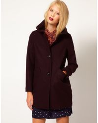 Sessun - Chera Wool Coat with Funnel Neck in Cocoon Shape - Lyst