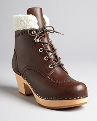 Swedish Hasbeens Lace Up Clog Booties Ice Baby - Lyst