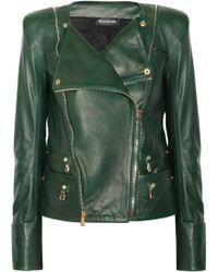 Balmain Leather Jacket green - Lyst