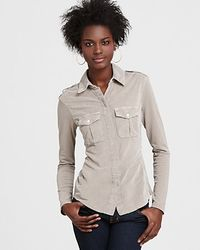 James Perse Paneled Cotton Military Shirt - Lyst