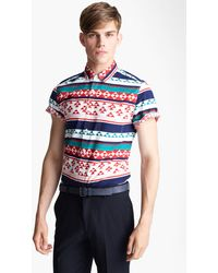 Topman High Roller Pattern Shirt blue - Lyst