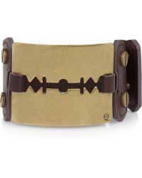 McQ by Alexander McQueen Razor Blade Brass and Leather Cuff purple - Lyst