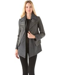 Cut25 by Yigal Azrouël - Felt Jacket with Leather Overlay - Lyst