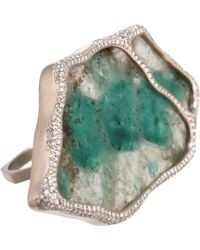 Monique Péan Emerald Slice Diamond Geometric Ring - Lyst