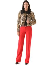 Peter Som Leopard Coat with Collar - Lyst