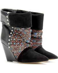 Isabel Marant Kate Suede Print Corduroy and Leather Wedge Ankle Boots - Lyst