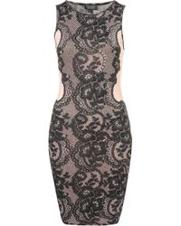 Topshop Lace and Gem Bodycon Dress - Lyst