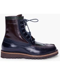 DSquared² - Navy Combo Patent Brogue Boots - Lyst