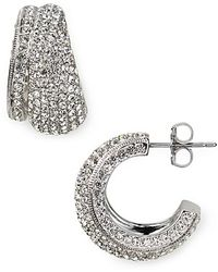 Nadri Pave Double Hoop Earrings - Lyst