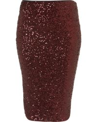 Topshop Sequin Tube Skirt - Lyst