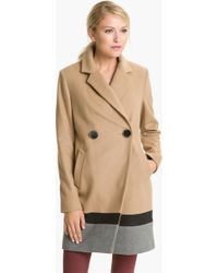 Vince Camuto Colorblocked Wool Blend Coat - Lyst