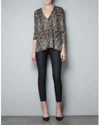 Zara Leopard Print Sweater - Lyst