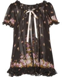 Agent Provocateur Syble Ruffled Floral-Print Silk-Chiffon Robe - Lyst