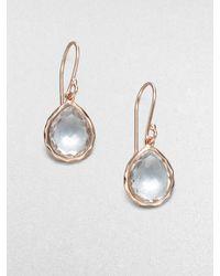 Ippolita 18k Gold Sterling Silver Clear Quartz Mini Teardrop Earrings - Lyst