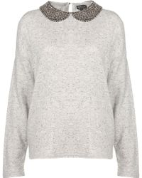 Topshop Bead Collar Sweat - Lyst