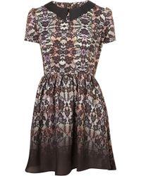 Topshop Check Lace Flippy Dress - Lyst