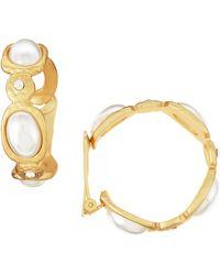 Kenneth Jay Lane Pearly Hoop Clipon Earrings - Lyst