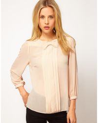 ASOS Collection Asos Top with Bow Tie and Pleat Detail pink - Lyst