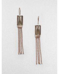 Ippolita Sterling Silver 18k Gold Smokey Quartz Tassel Earringsmedium - Lyst