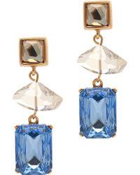 Oscar de la Renta Three Geometric Stone Drop Earrings multicolor - Lyst