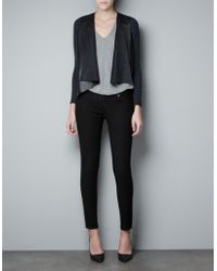 Zara Jacket With Synthetic Leather Front - Lyst