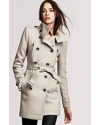 Burberry Brit Double Breasted Belted Wool Coat with Funnel Neck - Lyst