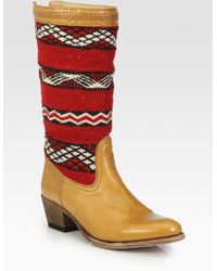 Cobra Society Alcazar Wool and Leather Knee-High Boots brown - Lyst