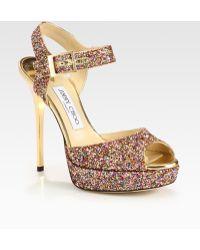 Jimmy Choo Linda Glitter Platform Sandals - Lyst