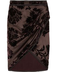 Gucci Velvet Patterned Brushed Silk Blend Satin Wrap Skirt - Lyst