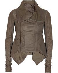 Rick Owens Naska Leather Biker Jacket gray - Lyst