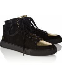 Saint Laurent Malibu Suede and Metallic Leather Sneakers - Lyst