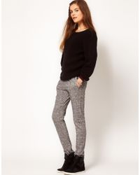 American Vintage Marl Jogging Pants with Contrast Hem and Waistband gray - Lyst