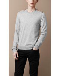 Burberry Brit Check Shoulder Cashmere Sweater - Lyst