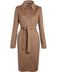 Max Mara Studio Cashmere and Wool Wrap Coat - Lyst