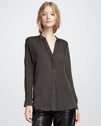 Vince Silk Blouse Fatigue - Lyst