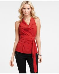 Ann Taylor  Wrap-Around Waist Cowl Neck Halter - Lyst