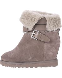 Ash - Ash Yes Sheepskin Hidden Wedge Ankle Boots Taupe - Lyst