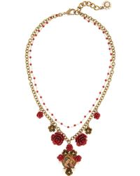 Dolce & Gabbana  Glass Pearl Virgin Mary Necklace - Lyst