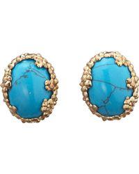 L'Agence Turquoise Cosmic Bezel Earrings - Lyst