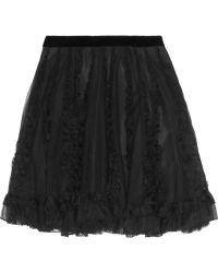 RED Valentino Appliquã Tulle Skirt black - Lyst