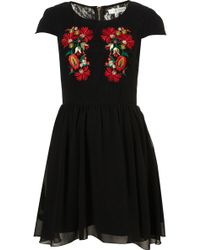 Topshop Embroidered Skater Dress By Rare - Lyst